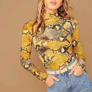 High Neck Snakeskin Print Fitted Top